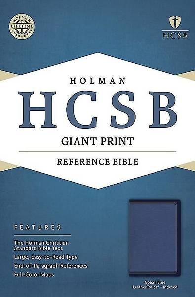 HCSB Giant Print Reference Bible, Cobalt Blue Leathertouch, Indexed