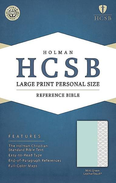 HCSB Large Print Personal Size Bible, Mint Green Leathertouch