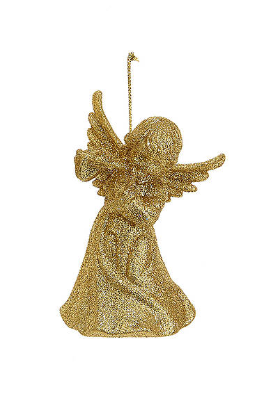 Glitter Gold Angel Playing A Flute