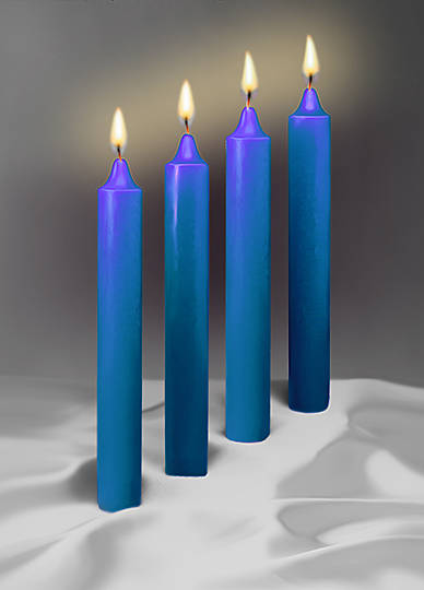 "Advent Candles 1 1/2"" X 12"" 51% Beeswax Blue (Box of 4)"
