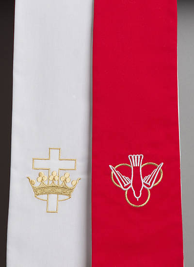 Premium Reversible Stole - Red & White