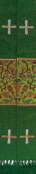 Stole Green Jerusalem Cross and Coronation Tapestry Canterbury Fabric