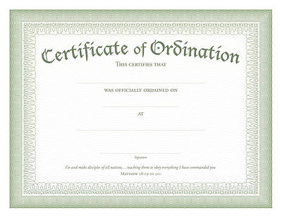 Ordination Certificate Green Foil Embossed, Package of 6