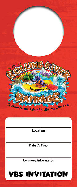 Vacation Bible School (VBS) 2018 Rolling River Rampage Promotional Door Hangers (Pkg of 24)