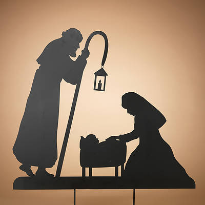 Outdoor Metal Holy Family Silhouette