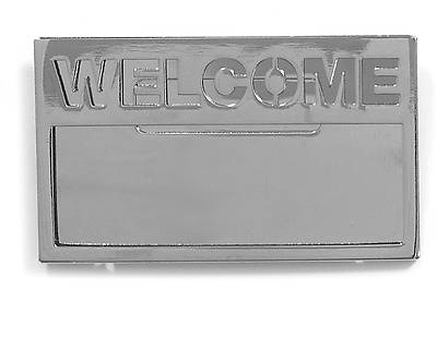 Silver Welcome Badge with Cut Out Lettering