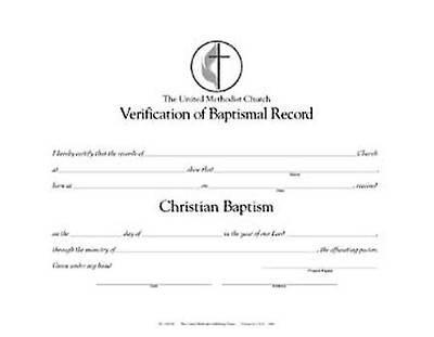 The United Methodist Church Verification Of Baptismal Record Pkg Of 12