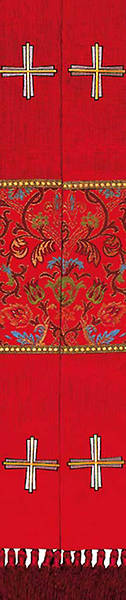 Stole Red Jerusalem Cross and Coronation Tapestry Canterbury Fabric