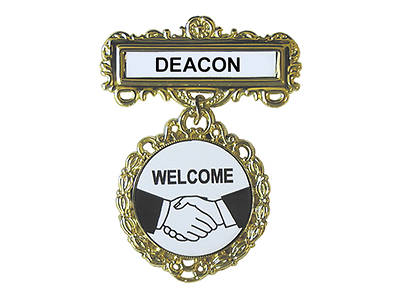 Gold Deacon Welcome Fancy Round Badge