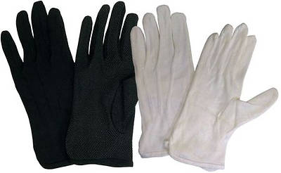 Cotton Performance With Plastic Dots Handbell Gloves - Black, X-Small