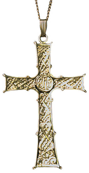 "3"" Gold-Plated Clergy Cross; 30"" Chain"