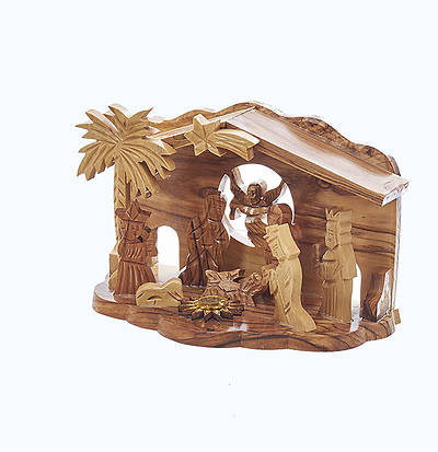 Olive Wood Nativity with Palm Tree