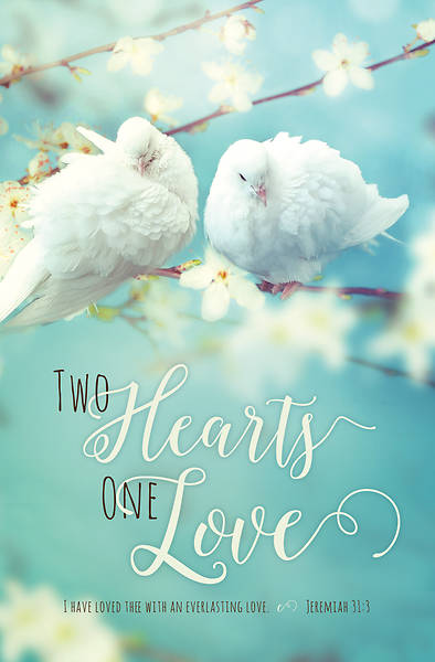 Two Hearts One Love Wedding Regular Size Bulletin