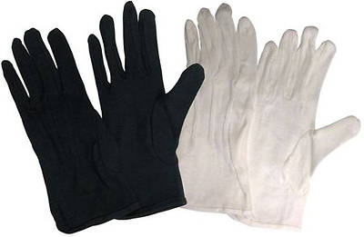 Cotton Performance without Plastic Dots Handbell Gloves - Black, Medium