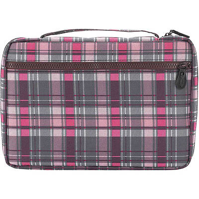 Gray & Pink Plaid Bible Cover - Large