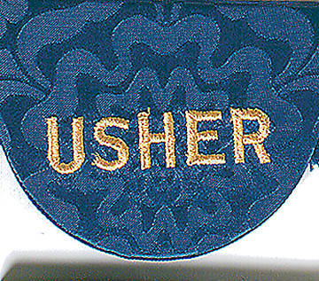 Pocket Usher Badge with Word on Blue Bermberg Damask (package of 4)