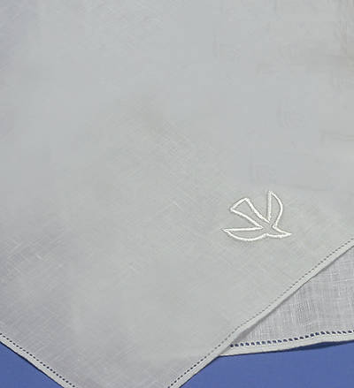 Baptismal Napkin Embroidered with a Dove