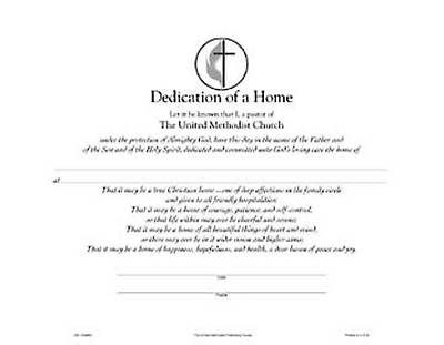 United Methodist Dedication of a Home Flat Certificate (Package of 12)