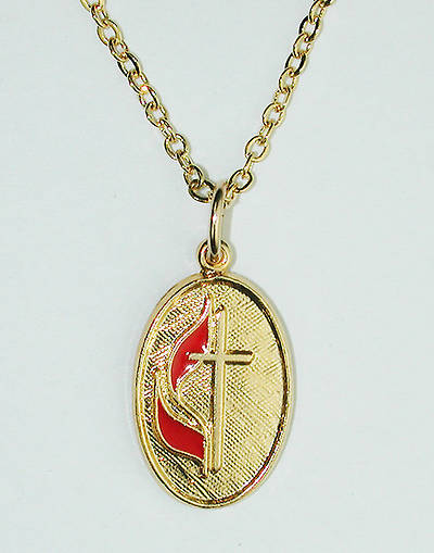 "United Methodist Oval Necklace 5/8"" x 7/16"", Gold, 18"" Chain"