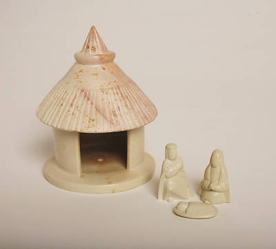 Natural Stone Hut Nativity - 4pc