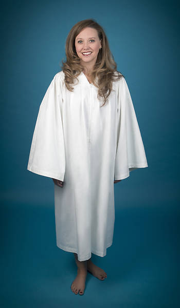 Pleated Baptismal Gown for Women