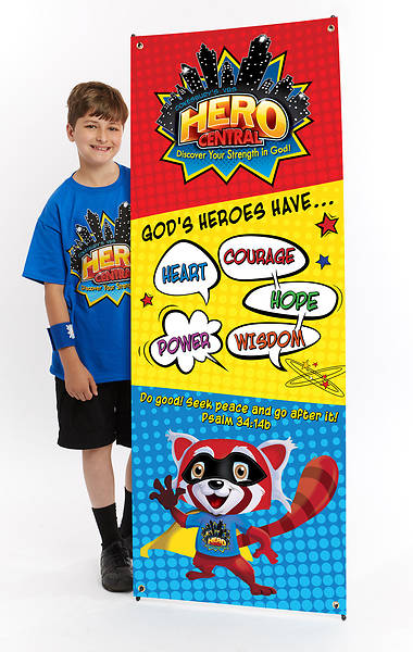 Vacation Bible School VBS Hero Central Theme Banner and Stand Combo