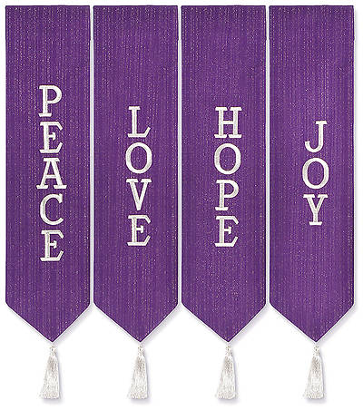 Advent Wreath Banners - Purple with White