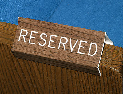 Reserved Pew Sign with Walnut Grain Finish