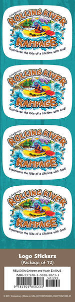 Vacation Bible School (VBS) 2018 Rolling River Rampage Logo Stickers (Pkg of 24)