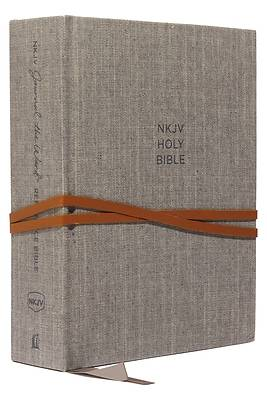 NKJV, Journal the Word Reference Bible, Cloth Over Board, Gray, Red Letter Edition, Comfort Print