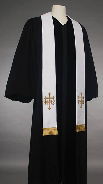 White IHS Cross Stole