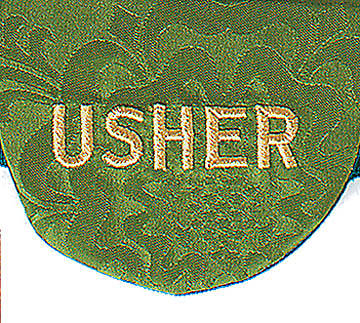 "Pocket Usher Badge with ""Usher"" on Green Bermberg Damask (package of 4)"