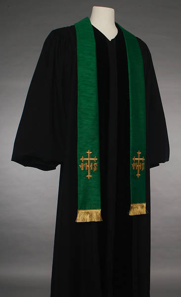 Green IHS Cross Stole