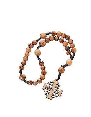 Prayer Beads Olive Wood with Jerusalem Cross