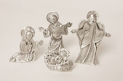 Pewter Tabletop Nativity 4 Piece