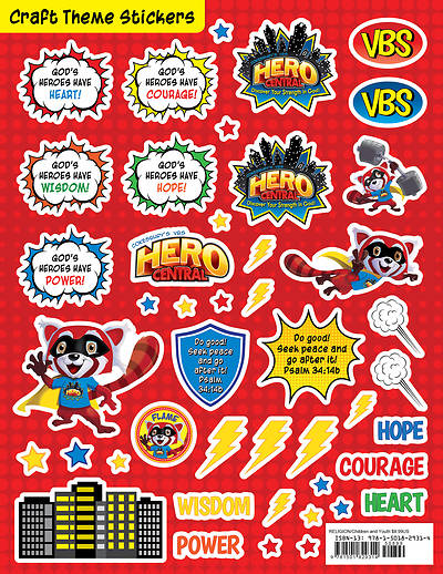 Vacation Bible School VBS Hero Central Craft Theme Stickers (Pkg of 12)