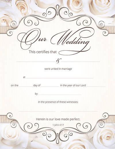 Marriage Certificate - 1 John 4:17 - Pack of 6