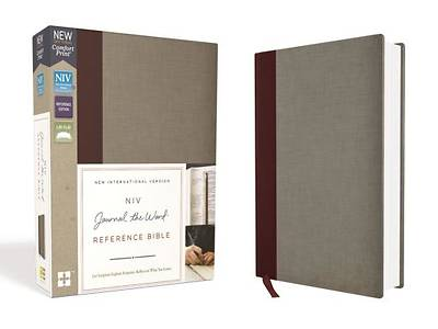 NIV, Journal the Word Reference Bible, Cloth Over Board, Burgundy/Gray, Red Letter Edition