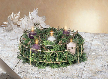 Love, Peace, Hope, Joy Gold Wire Votive Holder Advent Wreath