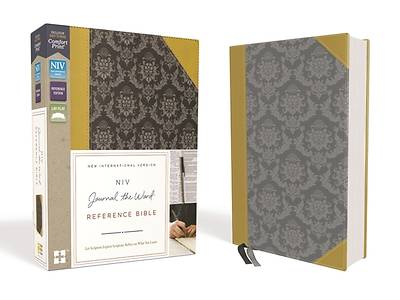 NIV, Journal the Word Reference Bible, Imitation Leather, Gold/Gray, Red Letter Edition