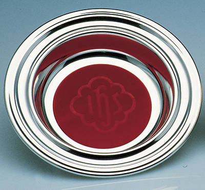 Deluxe Chrome Offering Plate with IHS Pad - Medium