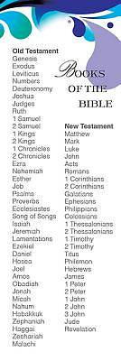 Deep Blue Books of the Bible List Bookmark (Pkg of 25)
