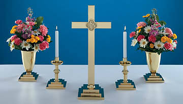 "Altarware Set, Small Brass, with 19"" Cross (Set of 5)"