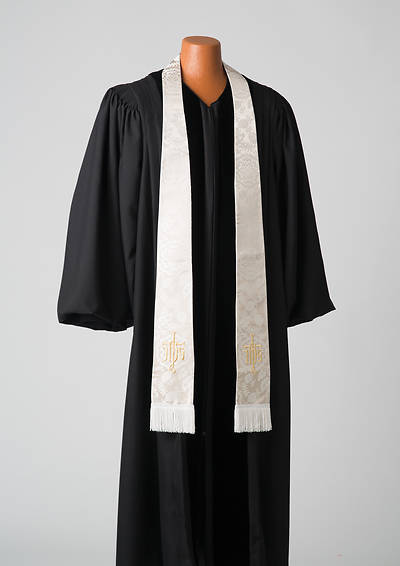 Silk White IHS on the Cross Stole