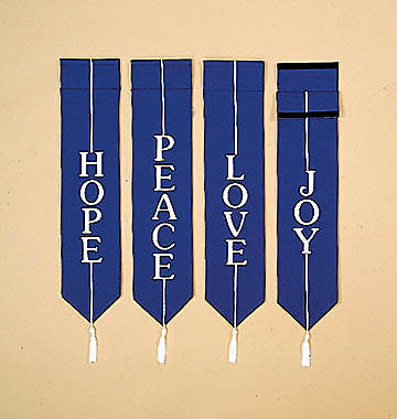 Banners Embroidered Blue - Hope, Peace, Love, Joy Blue (Set of 4)