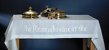 "Easy-Care In Remembrance of Me Communion Table Cover 47""x80"""