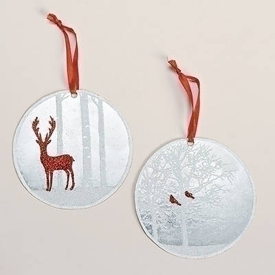 Christmas Scene Metal Disk Ornament 4
