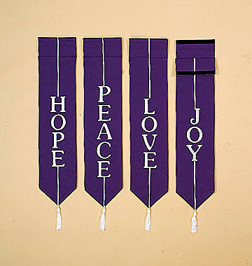 Banners Embroidered Purple - Hope, Peace, Love, Joy (Set of 4)