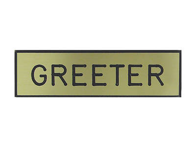 Gold and Black Greeter Pin-On Badge