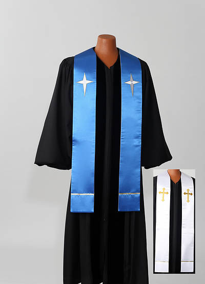 Stole Satin Reversible Blue/White Chest High Embroidered Symbol